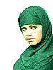 Photo 300 DPI: beautiful girl in green linen cape