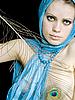 공작 깃털 스카프 여성 | Stock Foto