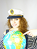 ID 3054256 | Attractive woman seafarer with the globe | High resolution stock photo | CLIPARTO