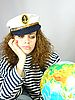 ID 3054258 | Attractive woman seafarer with the globe | High resolution stock photo | CLIPARTO