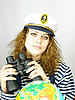 ID 3054449 | Attractive woman seafarer with the globe | High resolution stock photo | CLIPARTO