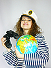 ID 3054458 | Attractive woman seafarer with the globe | High resolution stock photo | CLIPARTO