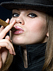 Photo 300 DPI: attractive girl in hat with cigar