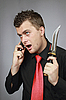 ID 3059897 | Mann spricht von einem Handy | Foto mit hoher Auflösung | CLIPARTO