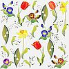 background with tulips and lilies