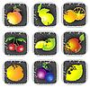 Icon set of various fruits and vegetables