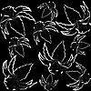 Vector clipart: black background with lilly flowers
