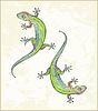 Векторный клипарт: Иллюстрация ящерицы. Поздравительная открытка с двумя геккона. Ани