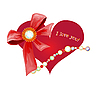 Valentines day greeting card with heart and bow