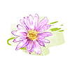 Vector clipart: pink flower with dew drops