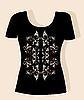 Vector clipart: t-shirt design with vintage floral element