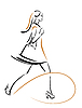 Vector clipart: hurring shopping girl with bags