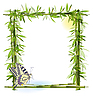 tropical frame with bamboo and butterfly