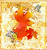 Vector clipart: autumnal grunge card with red maple leaves and butterflies