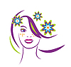 Vector clipart: stylized portrait of beautiful young woman with flowers