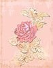 Vector clipart: vintage red rose card