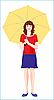 Vector clipart: young girl with yellow umbrella