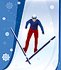 Vector clipart: jumping skier