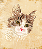 Vector clipart: vintage portrait of the cat