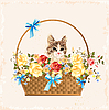 Vector clipart: vintage greeting card with kitten