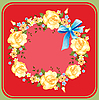 flower wreath of roses on red