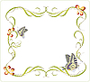 Vector clipart: floral frame with butterflies