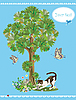 Vector clipart: cat playing with butterflies