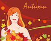 Vector clipart: girl and autumnal leaves