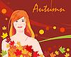 Mädchen und Herbstlaub