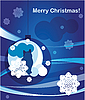 Vector clipart: christmas greeting card with cat