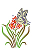 Vector clipart: iris and butterfly
