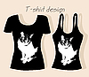 Vector clipart: t-shirt design with cat