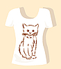 Vector clipart: t-shirt design with brown fluffy kitten