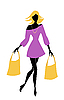 Vector clipart: fashion shopping girl with bags
