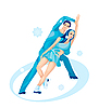 Vector clipart: Pair figure skating. Ice show