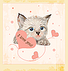 Vector clipart: Valentines day greeting card with kitten and hearts
