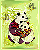 Vector clipart: pandas at the bamboo forest