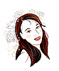 Vector clipart: brunette with flowers