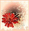 Vector clipart: card with red flower