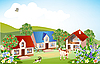 Vector clipart: summer rural landscape