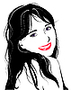 Vector clipart: flirting young girl