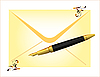 envelope and golden pen