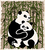 Vector clipart: pandas in the bamboo forest