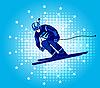 Vektor Cliparts: Skifahrer-Champion
