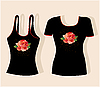 Vector clipart: t-shirt design with roses