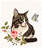 Vector clipart: cat and butterfly
