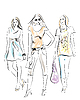 Vector clipart: fashion girls
