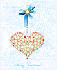 Christmas card with diamond heart and bow