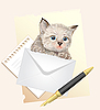 Fluffy kitten with envelope. Postage