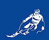 Vector clipart: white silhouette of the skier